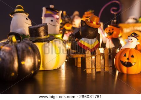 Halloween Festival Party House Decoration With Ghosts And Monsters Toy Doll Having Fun Together At N