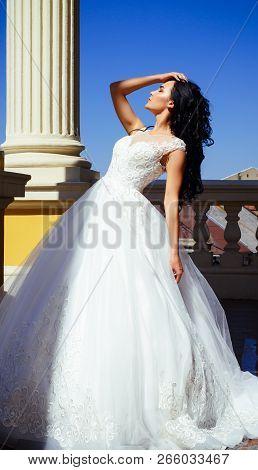 Elegant Wedding Salon Is Waiting For Bride. Happy Bride Before Wedding. Wonderful Bridal Gown. Beaut