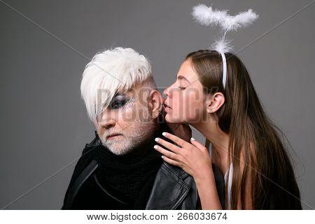 Transgender, Man Feels Like Woman. Lesbian Woman Kiss Transgender Man. Heterosexual Couple Of Man An