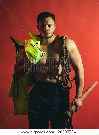 Sorry, Under Construction. Muscular Man Worker. Hard Worker With Muscular Torso. Construction Worker