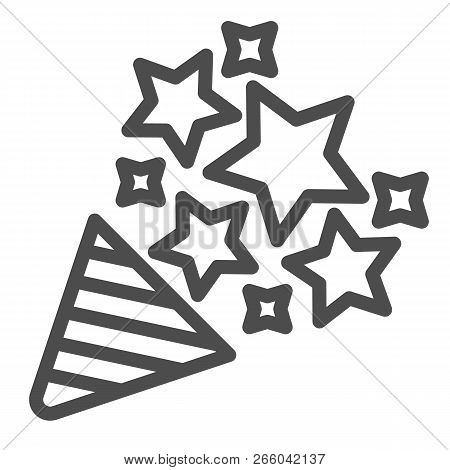 Firecracker Line Icon. Confetti Popper Vector Illustration Isolated On White. Party Popper Outline S