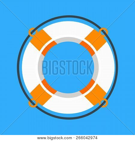 Lifebuoy. White And Orange Life Buoy, Life Preserver Isolated On Blue Background. Vector Illustratio