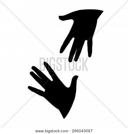 Silhouettes Of Two Arms Outstretched To Each Other. Vector Isolated Monochrome Picture.