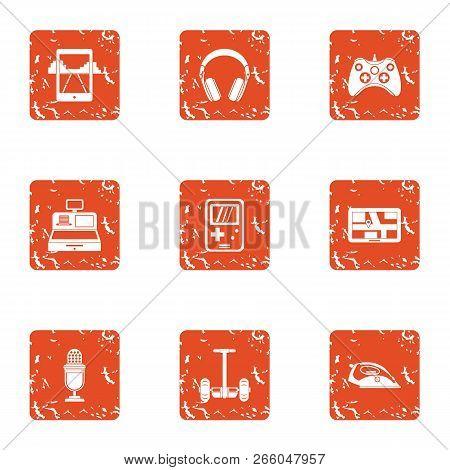 Speak Icons Set. Grunge Set Of 9 Speak Icons For Web Isolated On White Background