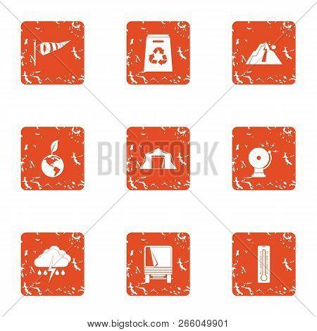 Exchange Of Ecology Icons Set. Grunge Set Of 9 Exchange Of Ecology Icons For Web Isolated On White B