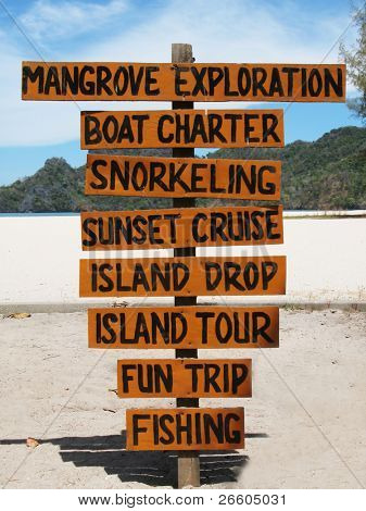 Signpost on the famous Tanjung Rhu beach of Langkawi, Malaysia poster