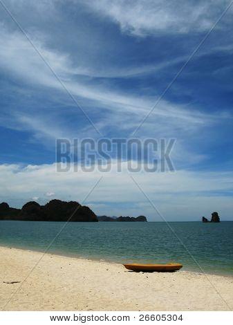Yellow kayak on the famous Thanjung Rhu beach of Langkawi, Malaysia poster