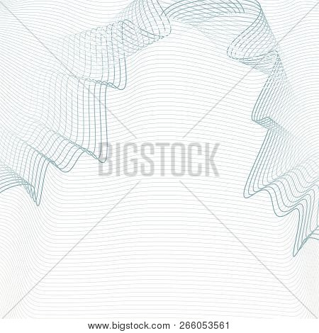 Light Gray Line Art Pattern With Draped Net Effect. Squiggle Subtle Lines. White Background. Vector