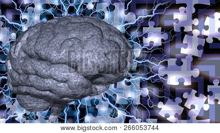 Human brain with electric charges on puzzle background. 3D rendering