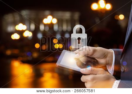 The Concept Is The Mobile Devices Protection System. A Padlock Is Hanging Above The Device In The Ha