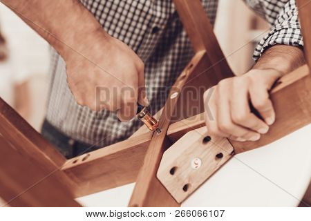 Assemble Furniture. Man Repairing Chair. Furniture Assembler With Drill. Woman On Sofa With Laptop.