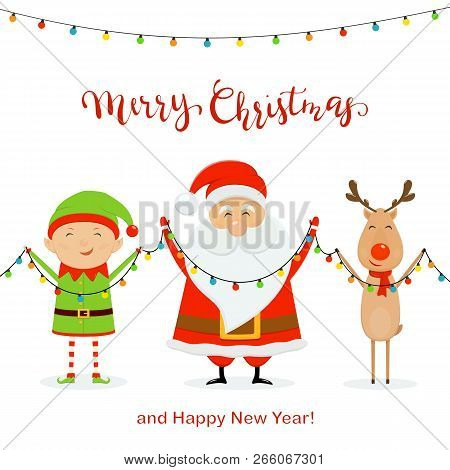Santa With Little Elf And Cute Deer Holding Colorful Christmas Lights, Isolated On White Background