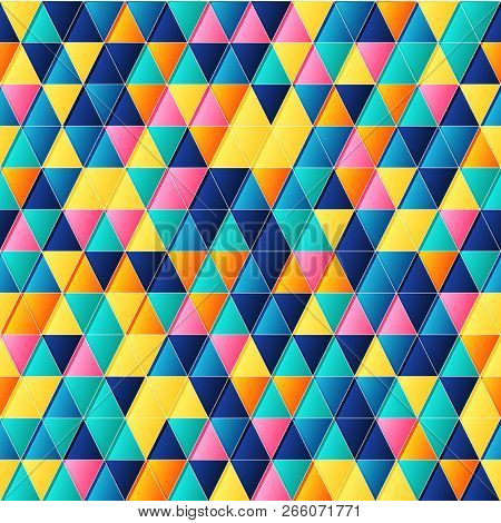 Geometric Seamless Pattern With Bright Colorful Triangles Vector Background