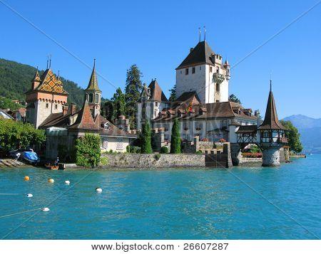 Oberhofen castle at the lake Thun, Switzerland