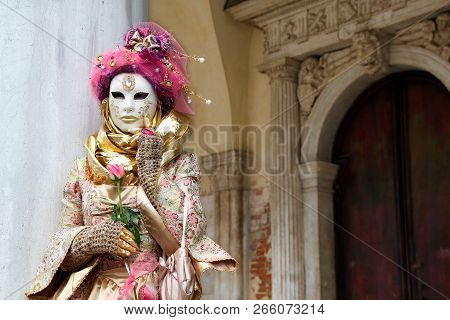 Carnival Pink-gold-beige Mask And Costume At The Traditional Festival In Venice, Italy