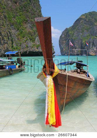 Decorated long tail boat in Maya bay of Phi-Phi island