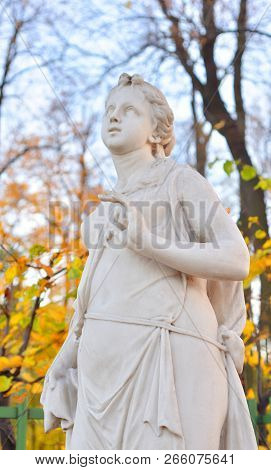 The Sibyl Of Delphi Statue At Autumn Evening In Saint Petersburg, Russia. Sibyl In The Ancient Cultu