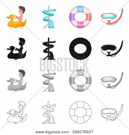 Vector Design Of Pool And Swimming Symbol. Collection Of Pool And Activity Stock Vector Illustration