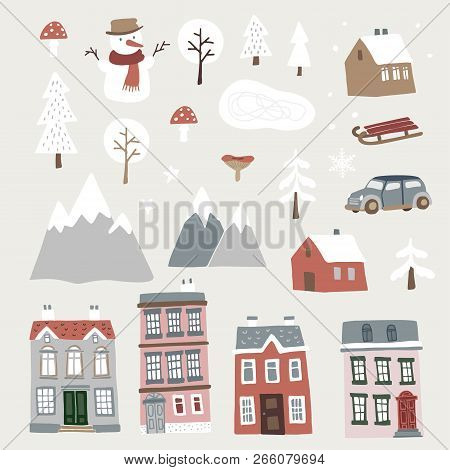 Set Of Cute Christmas Landscape, Town And Village Icons. Hand Drawn Houses, Mountains, Snowman And T