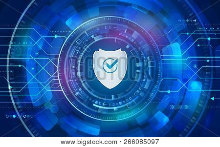 Cyber Shield For Internet Protection. Computer Data Defense. Global Network Security. Abstract Digit