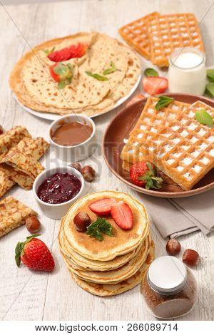 pancake, waffle and hotcake