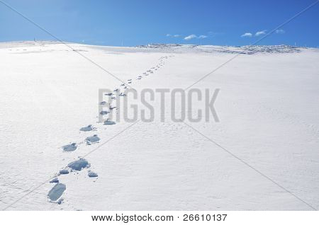 Footsteps on the snow. Pizol, Swiss Alps