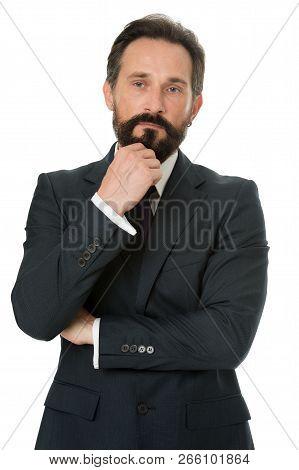 Businessman Bearded Thoughtful Entrepreneur. Thoughtful Businessman Concept. Businessman Thoughtful