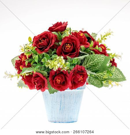 Colorful Fake Flower Handcraft From Cloth In Vase For Decoration, Studio Shot Isolated On White Back