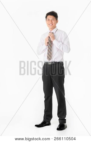 Portrait Asian Businessman Stunning And Smiling In Shirt, Looking At Camera, Isolated On White Backg