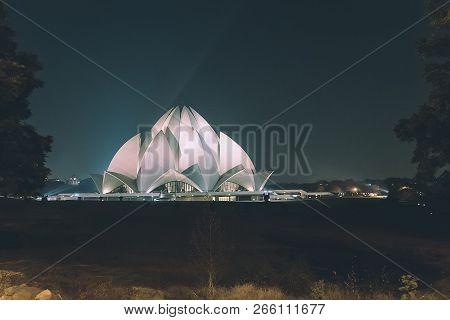New Delhi, Uttar Pradesh, India - 07.01.2018 Lotus Temple At Delhi, India. Night Time. Retro Toning.