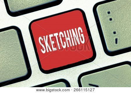 Handwriting Text Writing Sketching. Concept Meaning Making A Rough Drawing Of Something Design Plan