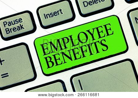Word Writing Text Employee Benefits. Business Concept For Indirect And Noncash Compensation Paid To