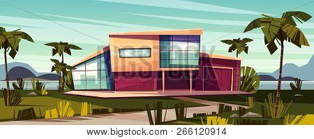 Luxury Villa On Tropical Beach Cartoon Vector Illustration. High-class House Exterior With Glass Fac