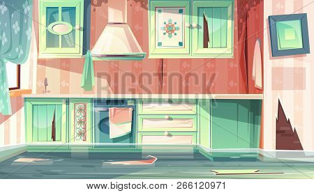 Vector Cartoon Background With Provence Room, The Flood In Dirty Kitchen. Leak Of Water, Black Mould