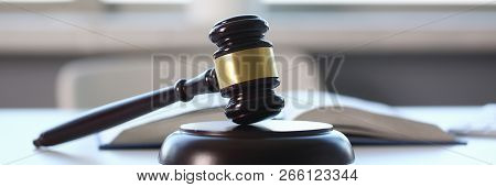 The Judge Hammer Lies On Table In Debate Room For Fair Judgments Economic Notions Of Violations Lega