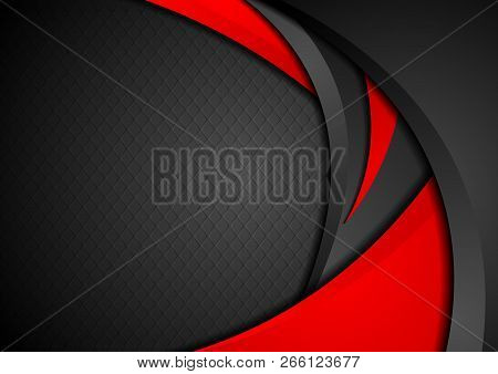 Red And Black Abstract Contrast Waves Vector Modern Background