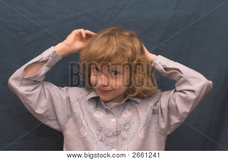 Young Girl Stroking Hair
