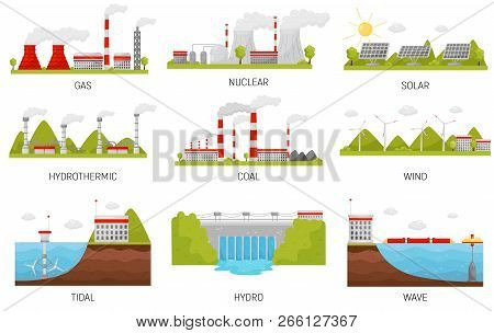 Alternative Energy Sources. Hydroelectric, Wind, Nuclear, Solar And Thermal Power Plants. Flat Vecto