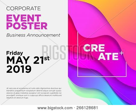 Business Announcement Vector Card. Event Poster Template With Fluid Gradient Shapes. Commercial Adve