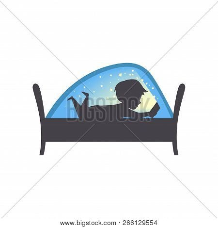 Cute Boy Reading A Book At Nigh, Child Reading A Book In Bed Under A Blanket Vector Illustration On