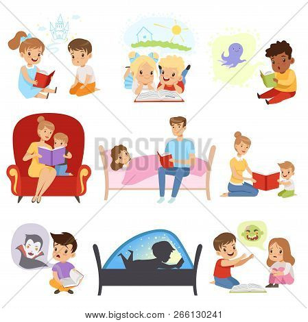 Children Reading Books And Dreaming, Parents Reading Bedtime Stories For Their Kids, Imagination And