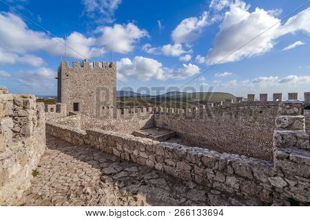 Sesimbra, Portugal - September 11, 2017: Bailey of the keep of the Castelo de Sesimbra Castle