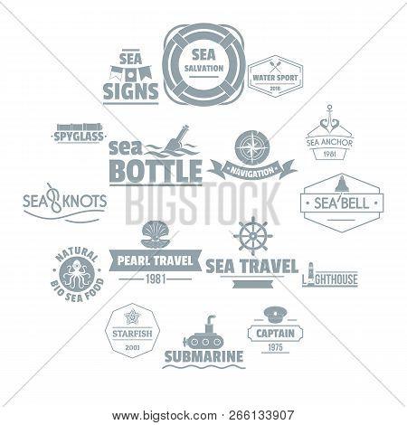 Nautical Sea Logo Icons Set. Simple Illustration Of 16 Nautical Sea Logo Icons For Web