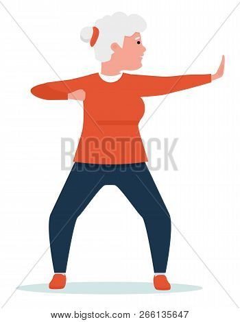 An Elderly Woman Engaged In Qigong. Healthy Lifestyle. Flat Cartoon Illustration Vector Set. Active