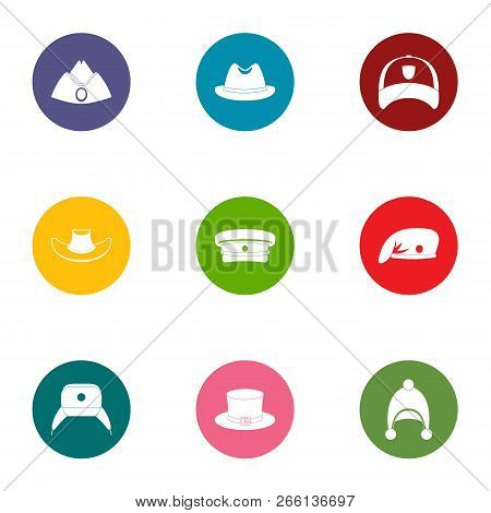 Headpiece Icons Set. Flat Set Of 9 Headpiece Icons For Web Isolated On White Background