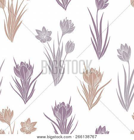 Saffron Crocus Flower Graphic Color Seamless Pattern Background Sketch Illustration Vector