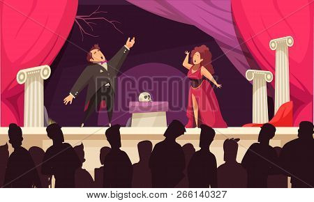 Opera Theater Scene Flat Cartoon Poster With 2 Singers Aria Onstage Performance And Audience Silhoue