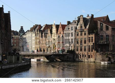 Gent, Belgium: 17 January 2018: Winter View Of The River Leie And Historic Buildings On The Korenlei