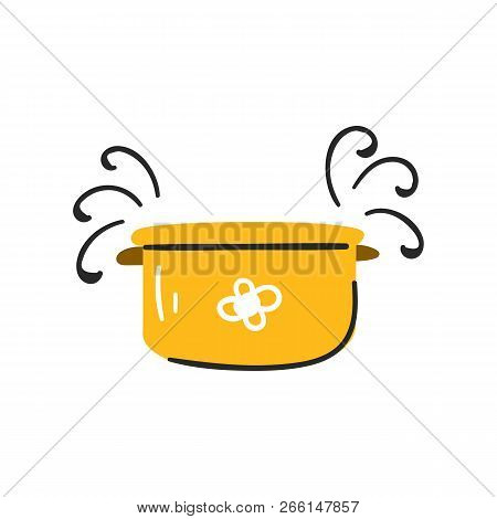 Vector Illustration, Pot With Hearts. Cooking Card. Cartoon Cute Style Pan. Mindful Eating Concept.
