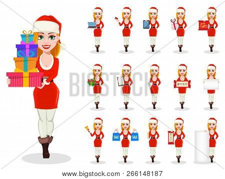 Merry Christmas. Set Of Beautiful Woman In Santa Claus Costume, Cartoon Character. Usable For Greeti